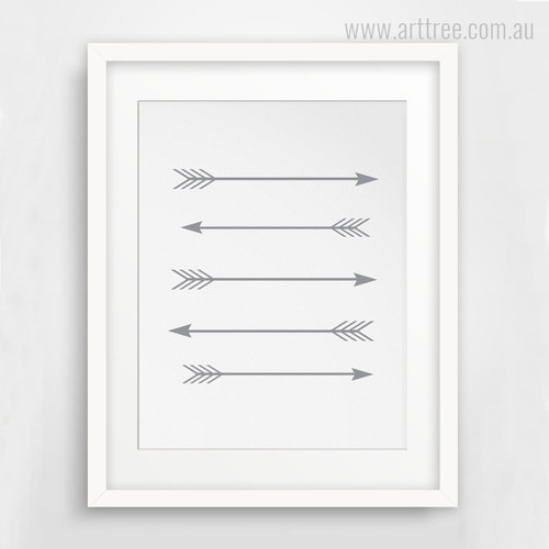 Grey Five Arrows Wall Art Print