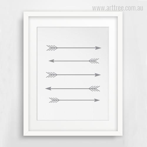 Grey Five Arrows Wall Art Print