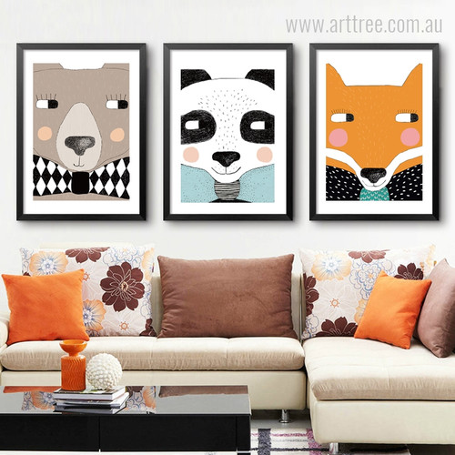 Kawaii Bear, Panda, Fox Cartoon Animals Kids Wall Art