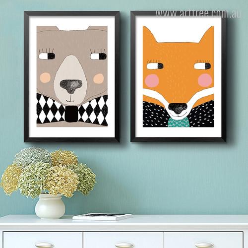 Kawaii Bear, Fox Cartoon Animals Children's Art