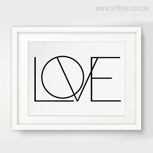 Minimal Love Black and White Canvas Art Print