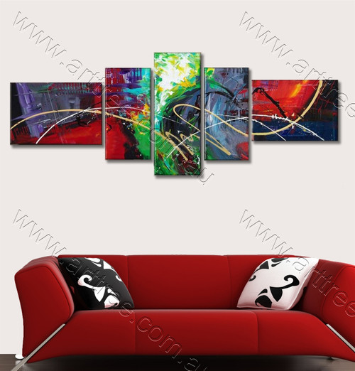 Stunning Colorful Streaks Abstract 5 Panel Paintings