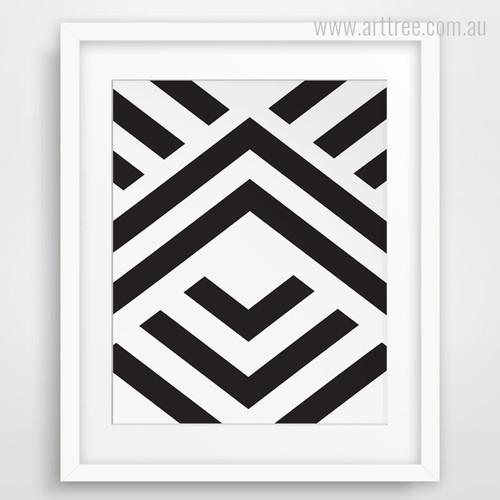Black and White Angled Stripes Geometry Shape Print