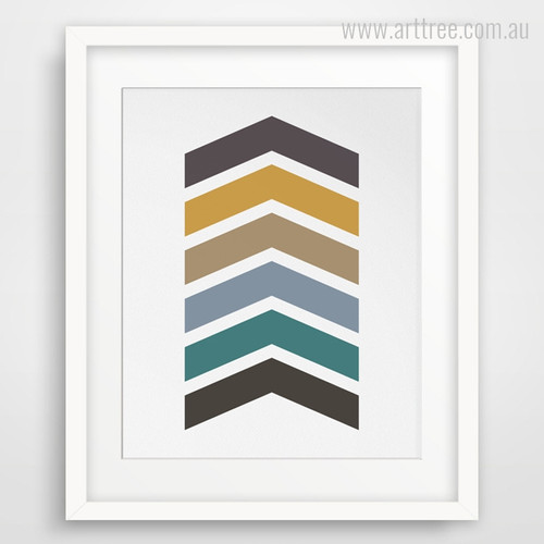 Abstract Multicolor Chevron Arrows Canvas Wall Art Print