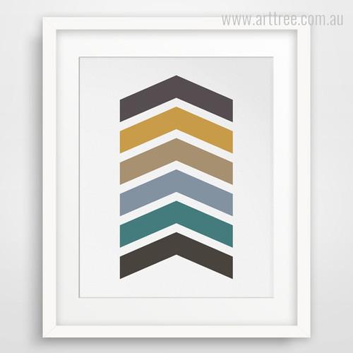 Abstract Multicolor Chevron Arrows Canvas Wall Art Print