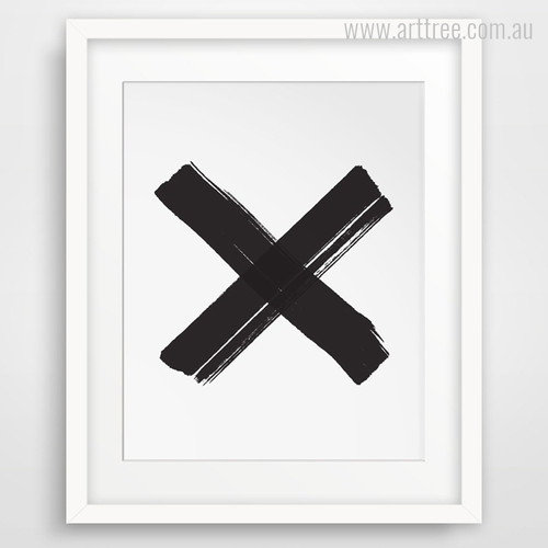 Minimal Black Cross Symbol Canvas Artwork