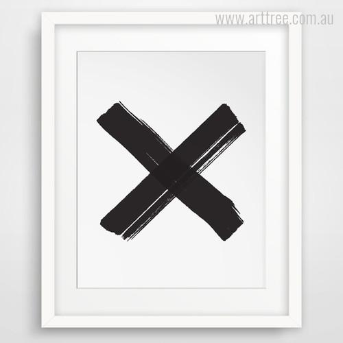 Minimal Black Cross Symbol Canvas Artwork