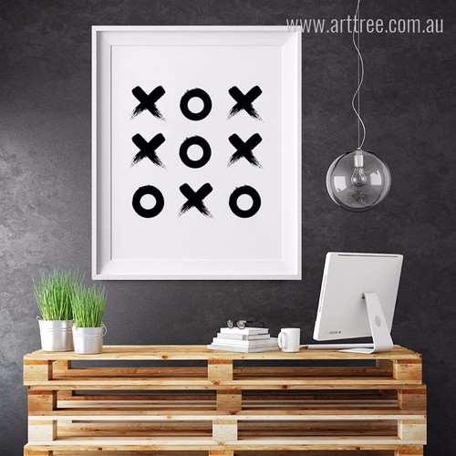 Minimal Cross Zero Game Design Black and White Wall Art Print