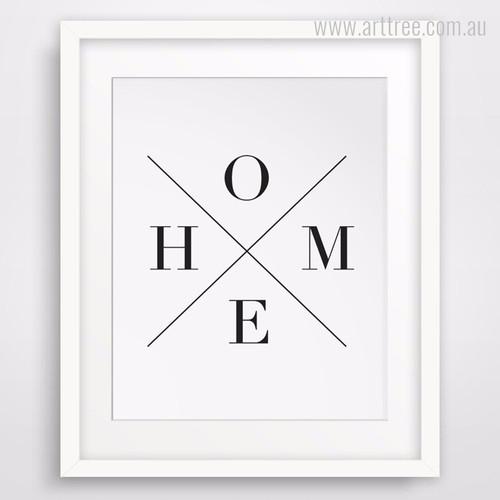 Minimal Cross Home Alphabets Digital Wall Print