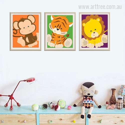 New Monkey, Tiger, Lion Animals Cartoon Kids Nursery Canvas Prints