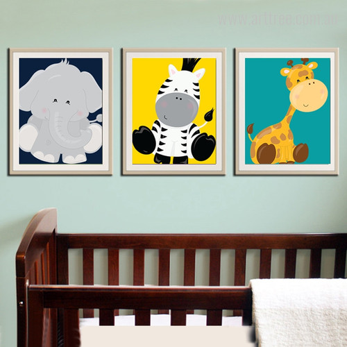 New Elephant, Zebra, Giraffe, Animals Cartoon Kids Nursery Canvas Prints