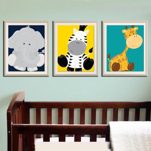 New Elephant, Zebra, Giraffe, Animals Cartoon Kids Nursery Canvas Prints