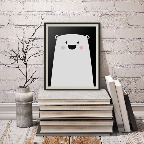 Cute Polar Bear Animated Cartoon Kids Room Decor Canvas Print