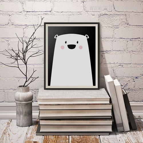 Cute Polar Bear Animated Cartoon Kids Room Decor Canvas Print