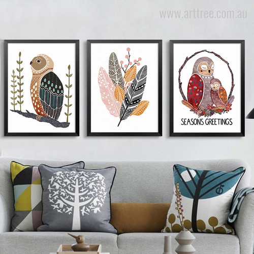 Owl, Feathers, Seasons Greetings Word African Art Print