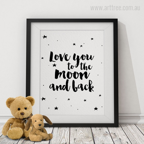 Love You to The Moon and Back Stars Quotes Nursery Art
