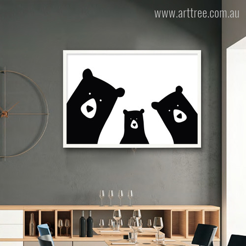 Cute Bear Family Animal Black and White Cartoon Art Print