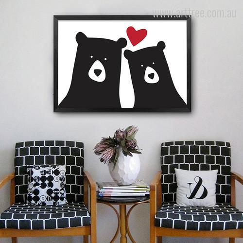 Cute Bear Animal Love Red Heart Nursery Wall Art