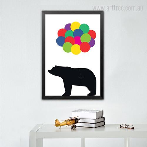 Black Bear Cartoon Colorful Balloons Digital Art Print