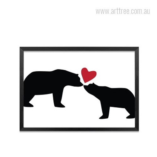 Cute Bear Animal Love Heart Kids Wall Art