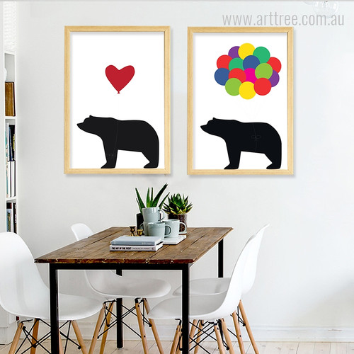 Cute Bear Animal Heart Balloons Nursery Art Set