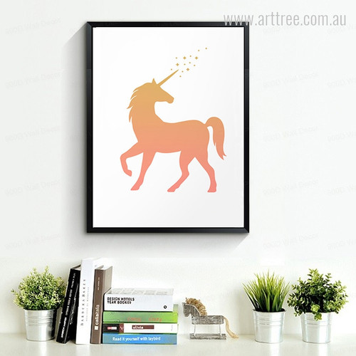 Modern Golden Brown Unicorn Kids Wall Art Print
