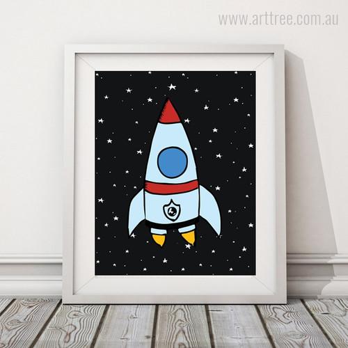 Flying Rocket in Space, Stars Artwork for Kids