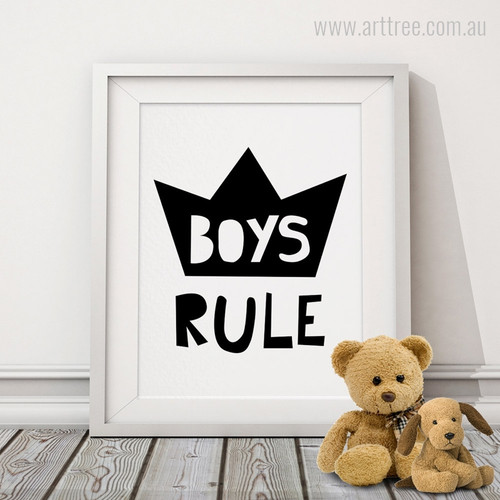 Boys Rule Crown Black and White Children's Wall Art Print