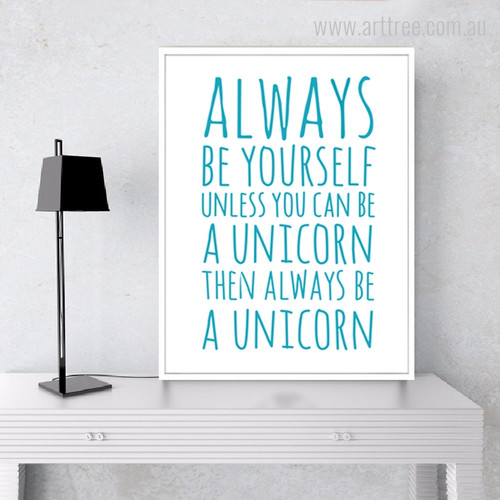Always Be Yourself Aqua Motivational Quotes Canvas Print