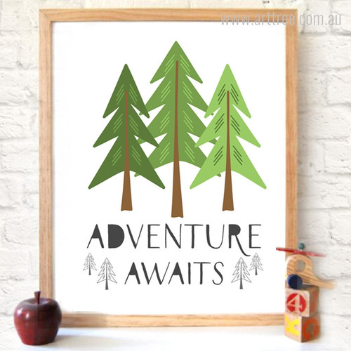 Adventure Awaits Quote Spruce Trees Children's Wall Art