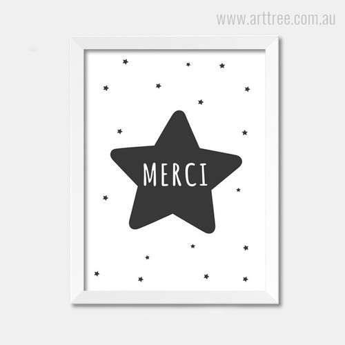 Merci Star Black and White Nursery Decor Print