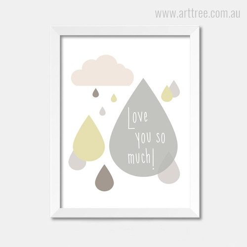 Love You So Much Drops Cloud Baby Nursery Digital Art
