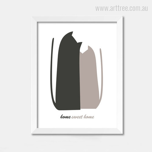Home Sweet Home Black Brown Animated Cats Artwork for Kids