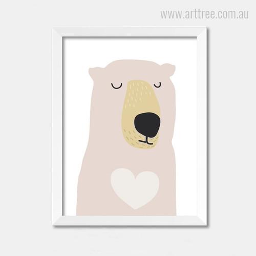 Cute Bear Cartoon Boy Girl Wall Art