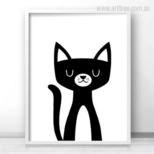 Cute Animated Kitty Cat Animal Cartoon Baby Nursery Decor