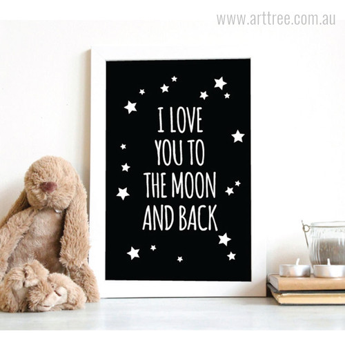 I Love You To The Moon and Back Classic Quote Stars Canvas Print