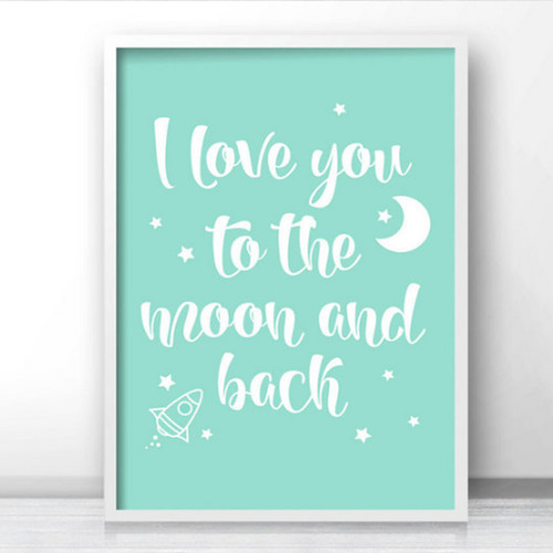 I love you to the moon and back Stars Rocket Print