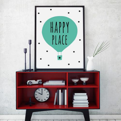 Happy Place Word Green Air Balloon Canvas Art