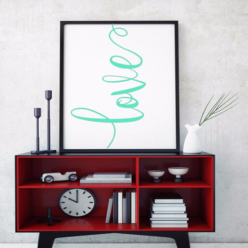 Green Love Alphabets Digital Canvas Print