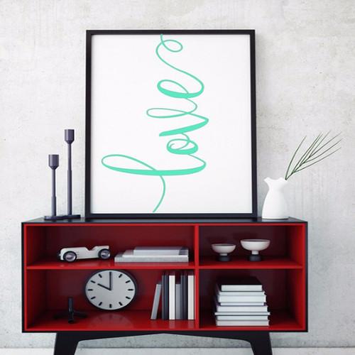 Green Love Alphabets Digital Canvas Print