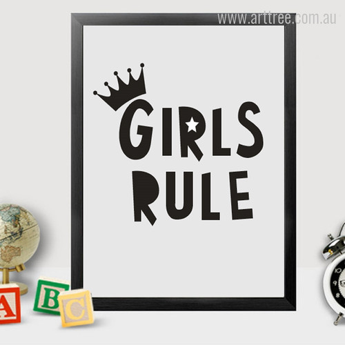 Girls Rule Crown Black and White Artwork for Kids