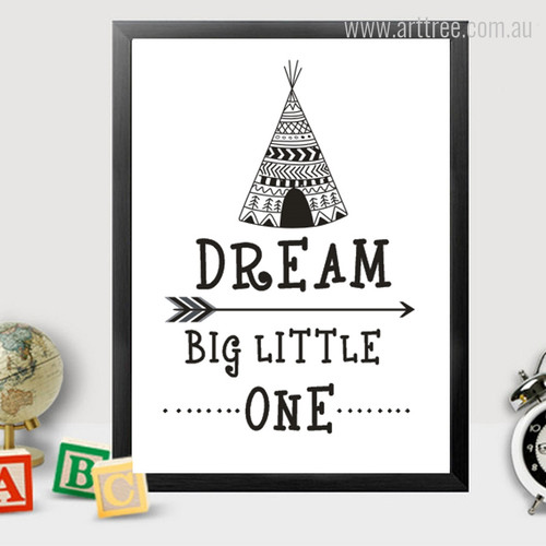 New Dream Big Little One Cute Quote, Arrow, Tent Kids Wall Art
