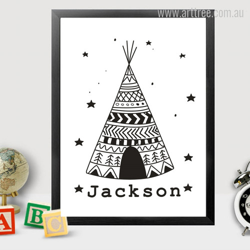 Jackson Alphabets Tent, Stars Black and White Kids Canvas Print