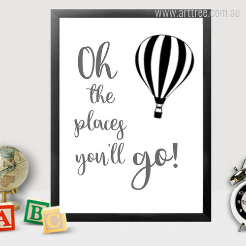 Oh The Places You Will Go Words, Hot Air Balloon Wall Art