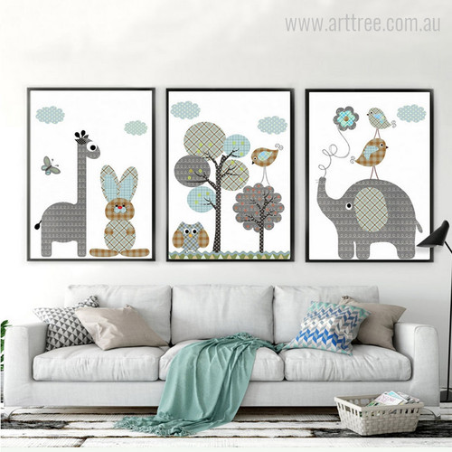 New Giraffe, Rabbit, Elephant, Owl, Animals, Birds Print Set