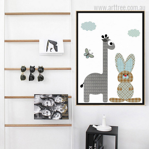 New Giraffe, Rabbit Animals, Butterfly Check Pattern Nursery Decor Print