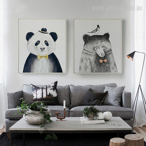 Bear, Giant Panda Animals, Bird Nordic Wall Art Prints