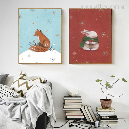 Snow Theme Fox, Rabbit Animal Digital Prints