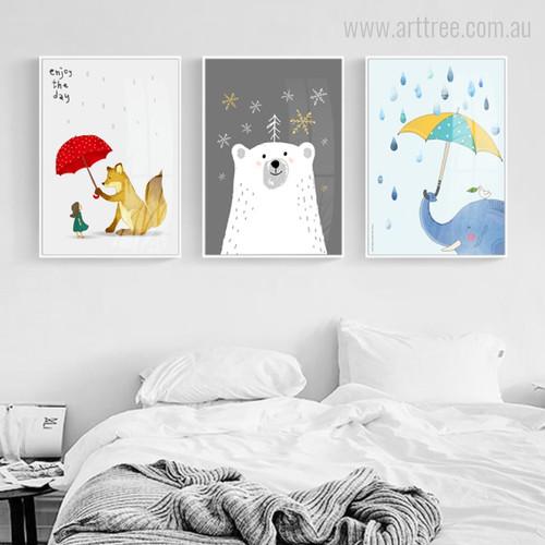 Animals under Umbrella Theme Fox, Elephant, Polar Bear Art Pieces