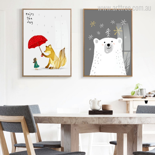 Umbrella Theme Fox Polar Bear Animal Wall Art Set of 2